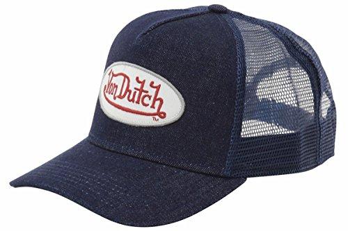 Von Dutch Denim (Von Dutch Men's Trucker Denim Denim/White-Red Patch Cap Hat (One Size Fits Most))