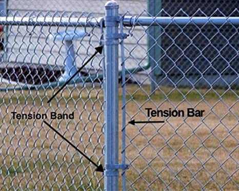 from fence post to fence post Chain Link Fence TENSION BAND 3-1//2: Tension Band for connecting to a tension bar to tighten the chain link fabric . or mesh and gate frames the same