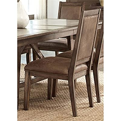 """Liberty Furniture 466-C6501S Stone Brook Dining Upholstered Side Chair, 21"""" x 25"""" x 40"""", Rustic Saddle"""