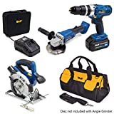 Wolf Professional 20v 7pc Power Tool Kit with Combi Drill, Impact Driver, Circular Saw with Laser, Angle Grinder, Battery, Charger & Accessory Carry Bag