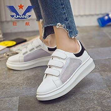 fec0719fea77e AGECC - Calzado de Invierno de Damas para Mujer Zapatillas Blancas con  Velcro con Punta Inferior Gruesa Estudiantes Zapatillas Blancas 35 Buena  Suerte para ...