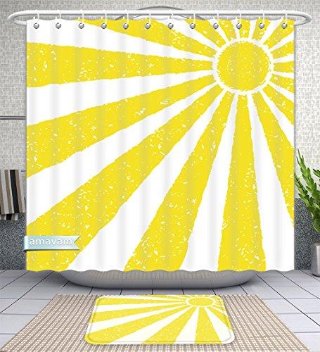 Amavam Juego de 2 Piezas de Cortinas de Ducha y Alfombrillas de baño, diseño de Sol Amarillo, Pintado a Mano con Aceite,...