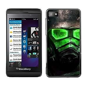 Blackberry Z10 - Metal de aluminio y de plástico duro Caja del teléfono - Negro - Green Glow Fall0Ut Soldier