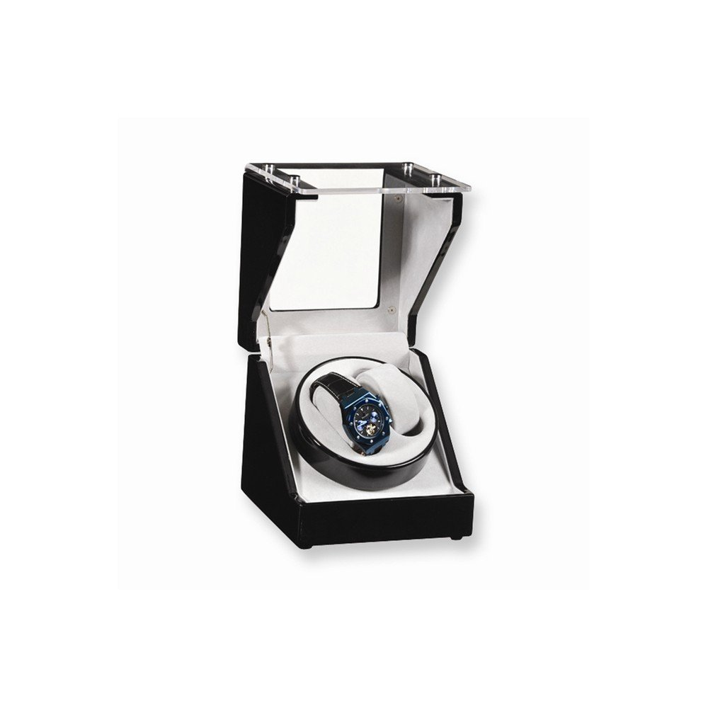 Top 10 Jewelry Gift Black Gloss Finish 1-Turntable Winder for 2 Watches