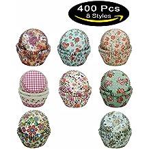 SophieBella 8 kinds Flower Muffin Liner Cupcake-Liner, 400 Count