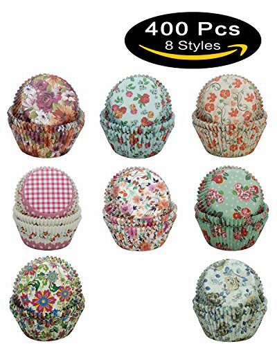 SophieBella 8 kinds Flower Muffin Liner Cupcake-Liner, 400 Count (Easy Halloween Crafts Tissue Paper)
