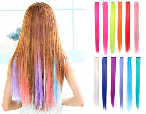 OneDor 23 Inch Colored Party Highlights Straight Hair Clip Extensions. Heat-Resistant Synthetic Hair Extensions in Multiple Colors (Full Color Set 12 Pcs)]()