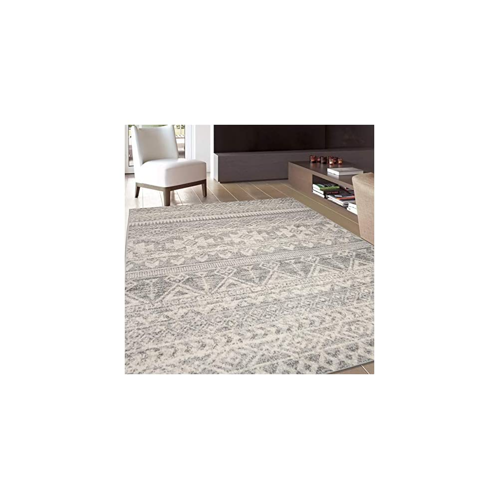 Rugshop Sky Collection Bohemian Distressed Geometric Area Rug 5' x 7' Gray