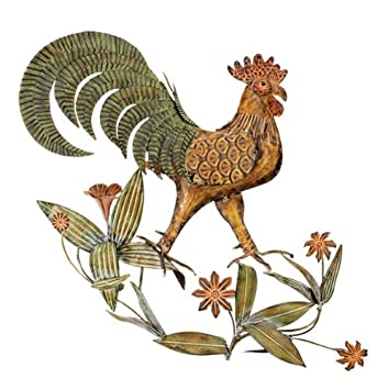 Amazoncom Wrought Iron Metal Sculpture Rooster Wall Decor Arts
