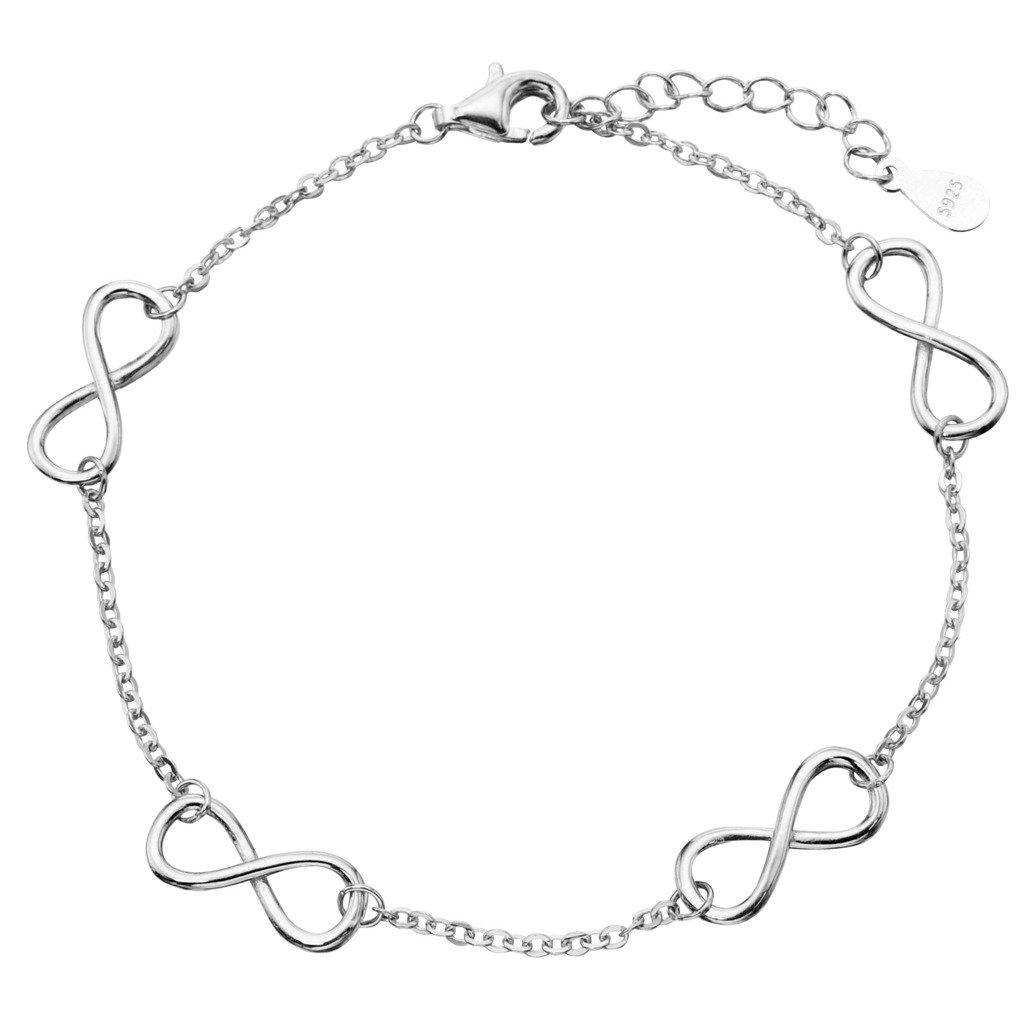 EVER FAITH Women's 925 Sterling Silver Elegant Figure 8 Infinity Adjustable Link Bracelet Hand Chain