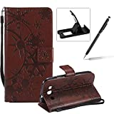 Strap Leather Case for Samsung Galaxy S3,Wallet Leather Case for Samsung Galaxy S3,Herzzer Premium Stylish Creative Brown Art Painted Magnetic Bookstyle Flip Portable Stand Case with Soft Rubber Card Holder Slots