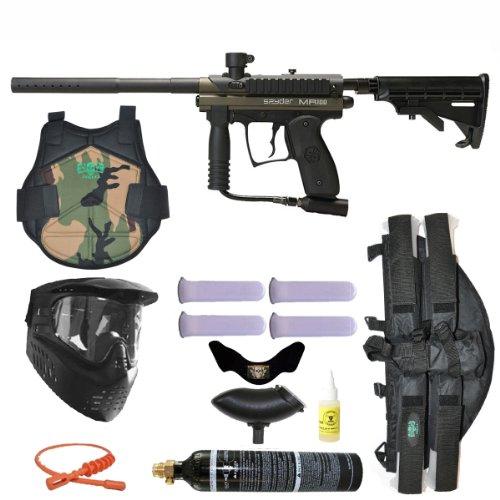Spyder MR100 Pro Paintball Marker Gun 3Skull 4+1 9oz Protector Mega Set - Olive