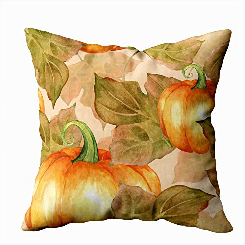Painted Halloween Pumpkins Patterns (Capsceoll Home Pillow Cover, 20X20Inch Orange Pumpkins Painted Pattern Watercolor Home Decoration Pillow Cases Zippered Covers Cushion for Sofa,Halloween Christmas Day,Blue)