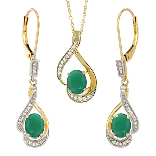 14K Yellow Gold Diamond Natural Cabochon Emerald Lever Back Earrings Necklace Set Oval 7x5mm,18 inch (Cabochon Emerald Earrings)