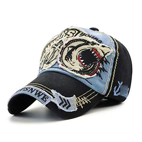 野球帽 男性女性 綿のサメの刺繍フィット キャップ,青