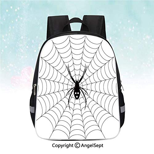 Casual Backpack,Poisonous Bug Venom Thread Circular Cobweb Arachnid Cartoon Halloween Icon Decorative,13