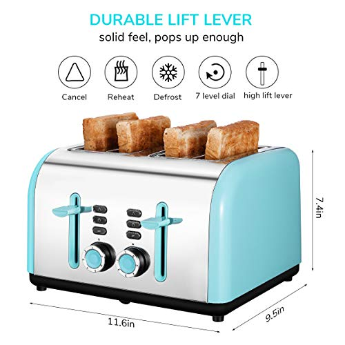 Toaster 4 Slice Wide Slot, Kitchen Toaster Stainless Steel Compact, Sleek Bread Toaster Best Rated with Quick Defrost Reheat Cancel Button by KEEMO by Keemo (Image #2)