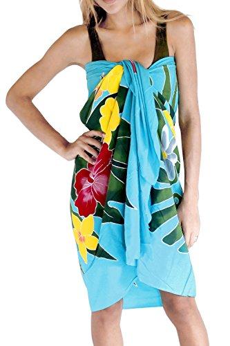 La Leela suavizar rayón pintado floral del bikini Caribe encubrir 78x43inch pareo Azul Turquesa