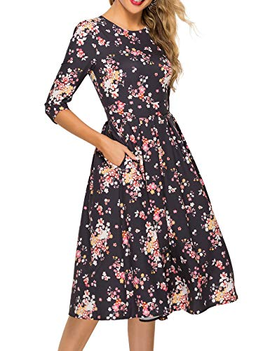 Simple Flavor Women's Floral Vintage Dress Elegant Midi Evening Dress 3/4 Sleeves (XH0360Black, Medium)