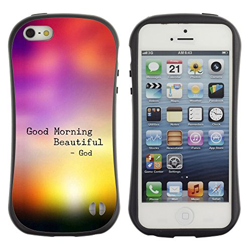 DREAMCASE Citation de Bible Silicone et Rigide Coque Protection Image Etui solide Housse T¨¦l¨¦phone Case Pour APPLE IPHONE 5 / 5S - GOOD MORNING BEAUTIFUL