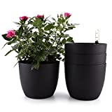 T4U 6' Plastic Self Watering Planter with Water Level Indicator Black Set of 4, Modern Decorative Planter Pot for All House Plants, Flowers, Herbs, African Violets, Succulents