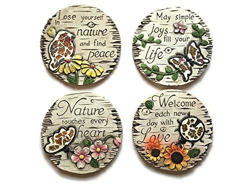 Decorative Stepping Stones For Garden Bundle: Four Items: Set Of 4 Mosaic Decorative Stepping (Mosaic Garden Stepping Stones)