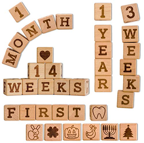 Baby Milestone Blocks | Pregnancy + Baby Newborn +Toddler + Weekly + Monthly + Yearly Age + School Grade + First Holidays | Premium Solid Wood | Best Baby Shower Gift for Boys & Girls