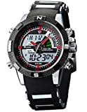Porbeagle Shark Men's Military Sport Wrist Watch Army Dual Time LCD Alarm Chronograph SH043