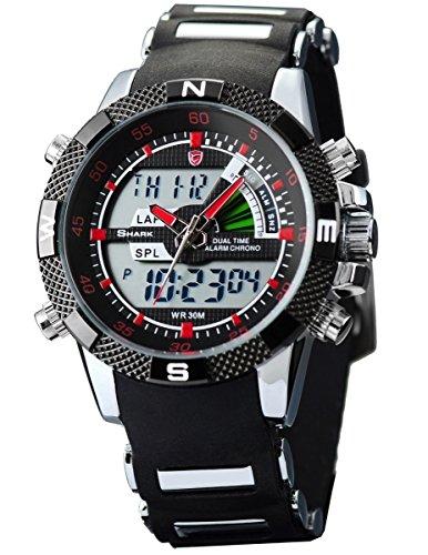 Porbeagle Shark Men's Military Sport Wrist Watch Army Dual Time LCD Alarm Chronograph SH043