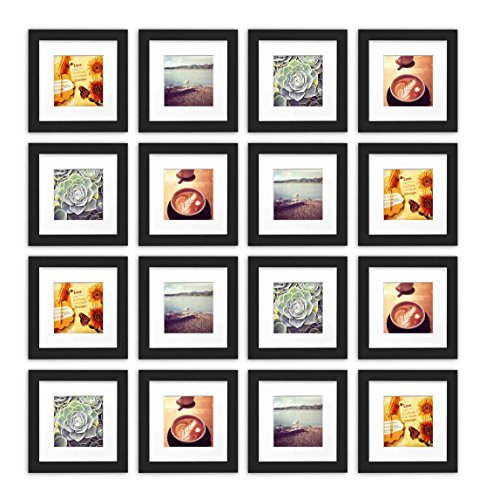 Black Collection Wood (Golden State Art, Smartphone Instagram Frames Collection, Set of 16, 6x6-inch Square Photo Wood Frames with White Photo Mat & Real Glass for 4x4 Photo, Black)
