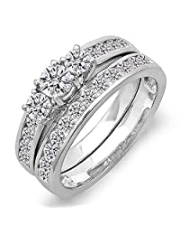 1.15 Carat (ctw) 14K Gold Round Cut Diamond Ladies Bridal 3 Stone Engagement Ring Set 1 1/4