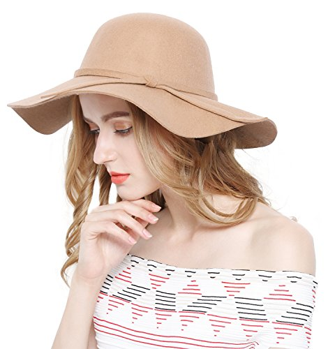 Lovful Women 100% Wool Wide Brim Cloche Fedora Floppy hat Cap,Camel,One Size
