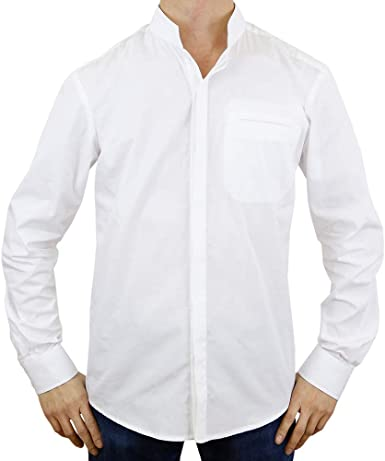 Sinologie - Camisa de Vestir - Cuello Mao - para Hombre Blanco Large: Amazon.es: Ropa y accesorios