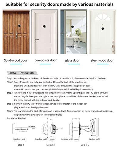 3 Inch No Disturbing Digital Door Viewer Security Cameras Door Cat Eye Doorbell with Night Vision by Asunflower (Image #4)