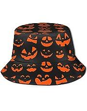 Halloween Pumpkin Faces Bucket Hat Summer Travel Bucket Hat Fisherman Cap for Women Men Teens Extra Large Bucket Hats Black