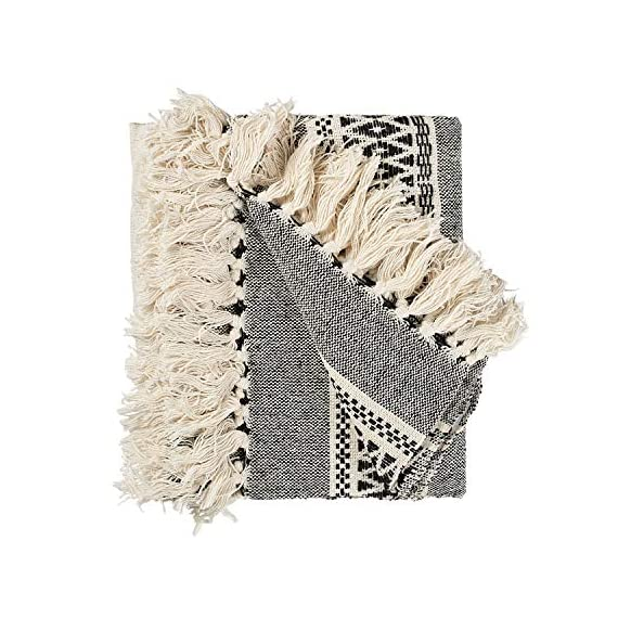 MOTINI 100% Cotton Decorative Blankets Cozy Grey and White Throw Blankets Hand-Knitted with Tassel for Sofa, Couch, 60 x 50 inch - A subtle diamond motif gives this option a pop of pattern while it's fringe trim gives a timeless design that blends effortlessly into any ensemble Fits the rustic, vintage, or distressed look - This cozy throw blanket adds a classic touch and exceptional texture & style to any home to any living, dining, bedroom, home office or foyer with its timeless design and practical size. This beautiful high-quality 100% cotton decorative blanket will last for years to come. It is lightweight making it great for summer and easy transportation between rooms. It measures 60 x 50 inches. - blankets-throws, bedroom-sheets-comforters, bedroom - 51o8ZCIAlZL. SS570  -