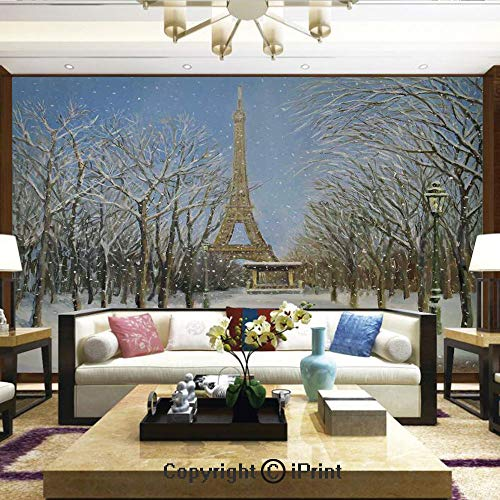 - Mural Wall Art Photo Decor Wall Mural for Living Room or Bedroom,Winter Scene of Historical Eiffel Tower in Paris Snowy Day City European Urban View,Home Decor - 100x144 inches