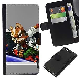 """A-type (Espacio Fox"""") Colorida Impresión Funda Cuero Monedero Caja Bolsa Cubierta Caja Piel Card Slots Para Apple iPhone 5C"""