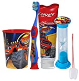 ''Blaze and the Monster Machines'' 4pc Bright Smile Oral Hygiene Set! Soft Manual Toothbrush, Toothpaste, Brusing Timer & Mouthwash Rinse Cup! Plus Bonus ''Remember To Brush'' Visual Aid