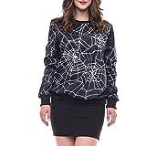 Orangeskycn Pullover Sweatshirt Women's Halloween Spider Web 3D Printing Top