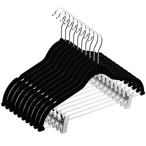 Velvet Kids Skirt (TIMMY Velvet hangers Clips 20 Pack Non slip Clothes Hangers Ultra Thin Pants hangers Skirt hangers Swivel Hooks(Black))