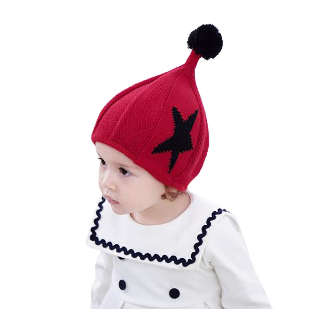 SUJING Baby Winter Ribbed Knit Pompoms Chunky Lined Beanie Hats Toddler Soft Knit Hat Warm Baby Knit Hat