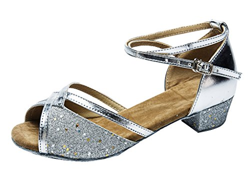 staychicfashion Girls Soft-Soled Glittering Latin Ballroom Dance Shoes with Leather Strap(4,Silver/Silver)