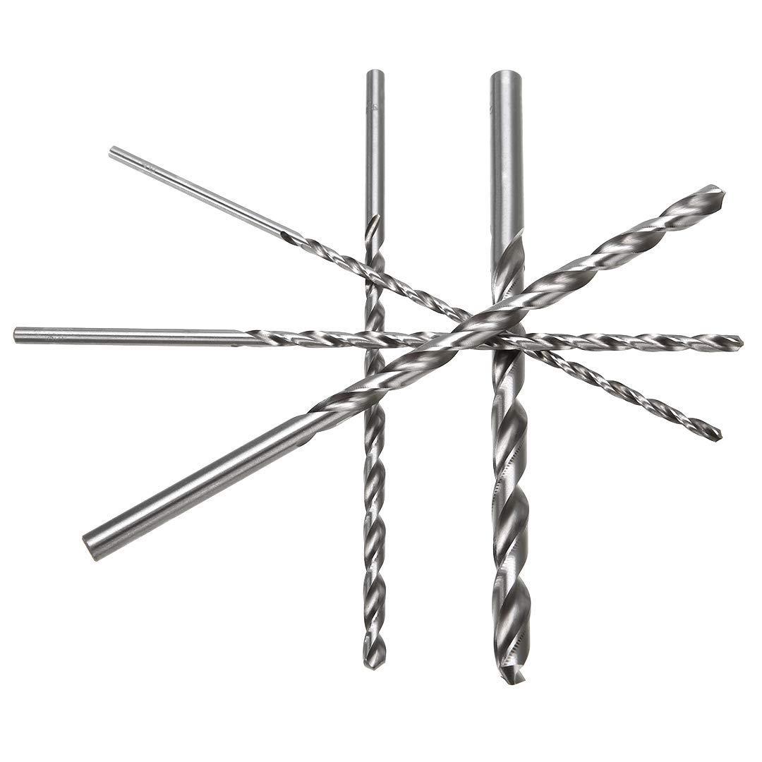 Spiralbohrer Set Extra Lange HSS Direkt Schaft Bohrer Bit 200mm 4//5//6//8//10mm Durchmesser