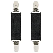 Hold'Em Boot Clips Elastic Adjustable Leg Straps Pant Stirrups with Extra Heavy Sturdy Clip Made In USA Keeping Pants Smoothly Tucked In Boots Black 4 Inch