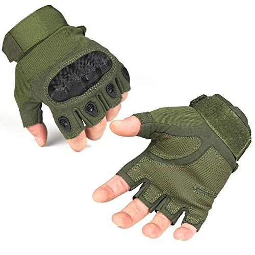 GQMART 1 Pair Military Bicycle Climbing Half Finger Tactical Gloves(Army Green,L)