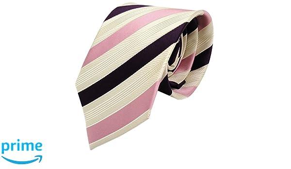 Diseñador corbata de seda - rosa morado violeta crema beige rayas ...
