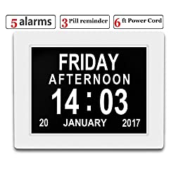 Véfaîî 2 UI- Large Day Clock Digital Calendar for Memory Loss Elderly Seniors Dementia Alzheimers Vision Impaired Patients 6 Ft Power Cord+5 Alarms+3 Medicine Reminders+Digital Picture Frame (White)