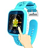 1.44'' Touch Screen Smart Watch Phone for Kids Waterproof GPS Tracker Fitness with SIM Slot SOS Children Smartwatch Safety Monitor Parent Control App for Smartphone (Blue)