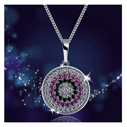 (YHLISO Evil Eye Pendant Sparkling Necklace Round Pave Diamond Cubic Zirconia Lucky Charm Disc Necklaces for Women )